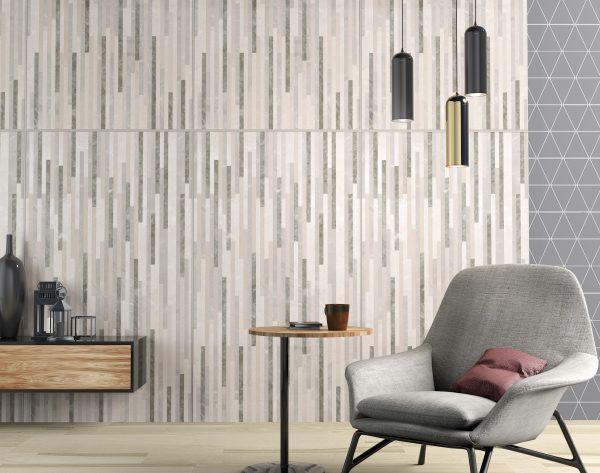 「流星雨」深浅搭配灰色系个性现代书房背景墙