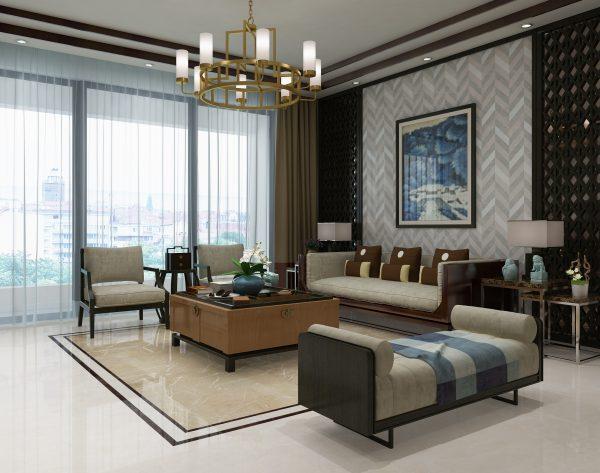 「麦浪」深浅搭配恒久经典中式客厅沙发背景墙