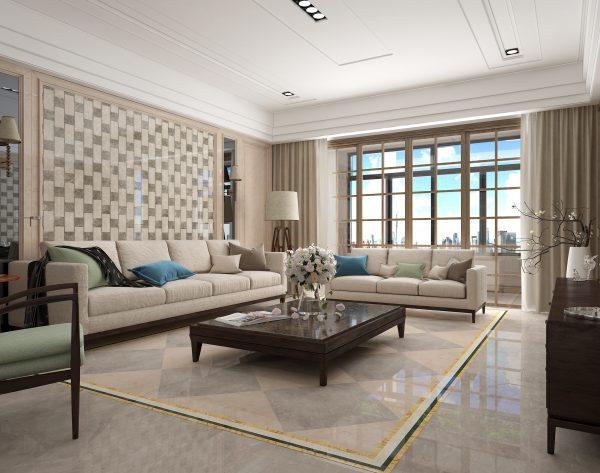 「棋格」深浅搭配灵动明亮中式客厅沙发背景墙
