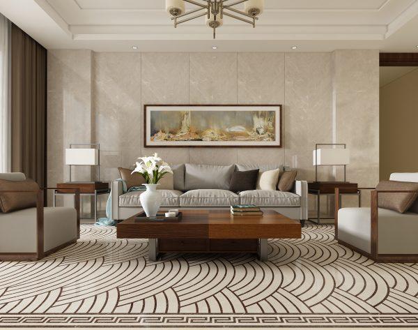 「鱼骨米白」淡雅浅色意蕴万千中式客厅沙发背景墙