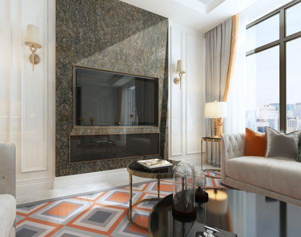 「铂金钻」高贵奢华彩色欧式客厅电视背景墙