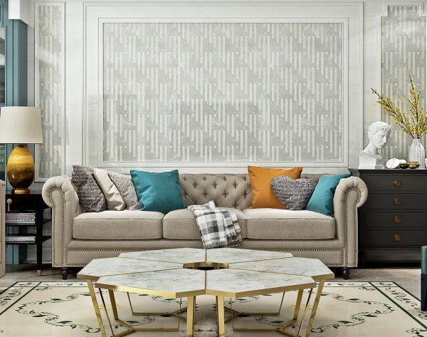 「森林」深浅搭配优雅明亮欧式客厅沙发背景墙