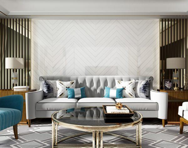 「白色羽翼」高级纯白唯美风尚现代客厅沙发背景墙