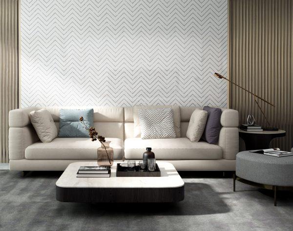 「摩登时代」白金质感潮流生活现代客厅沙发背景墙