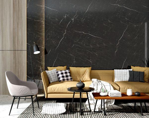 「香榭丽舍」深色系高雅轻奢现代客厅沙发背景墙