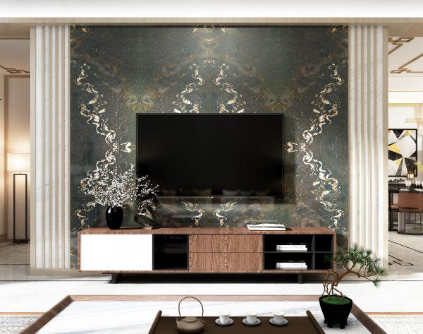 「古驰黑」高贵彩色系精英首选中式客厅电视背景墙