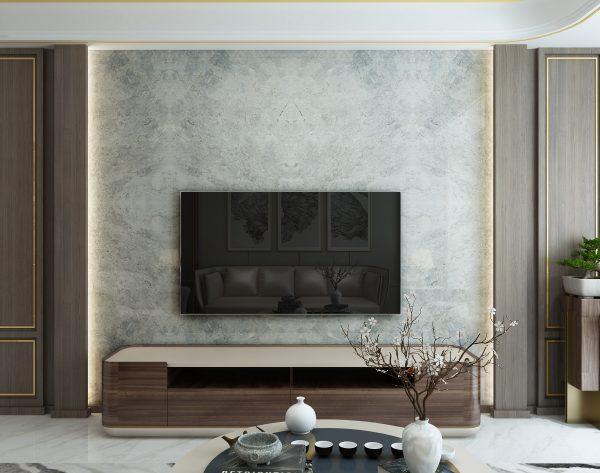 「米洛西绅士灰」淡雅灰色系君子之家中式客厅电视背景墙