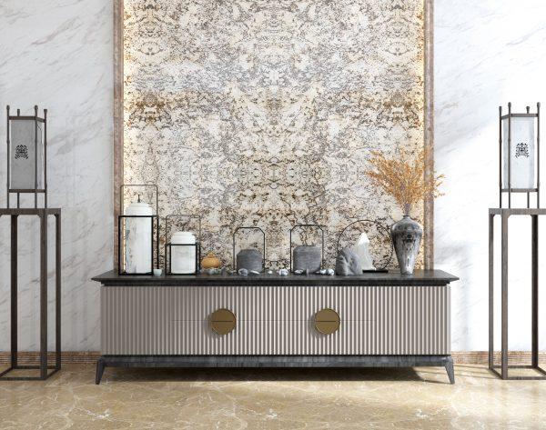 「森林飘雪」雅奢彩色系唯美意境中式客厅背景墙