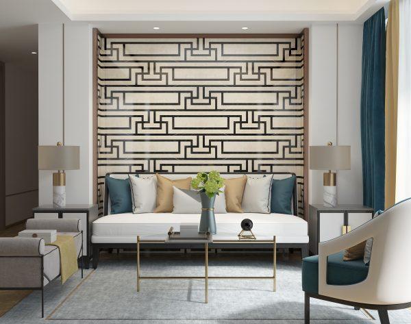 「T.K.CHU锦」流畅线条经典高雅中式客厅沙发背景墙