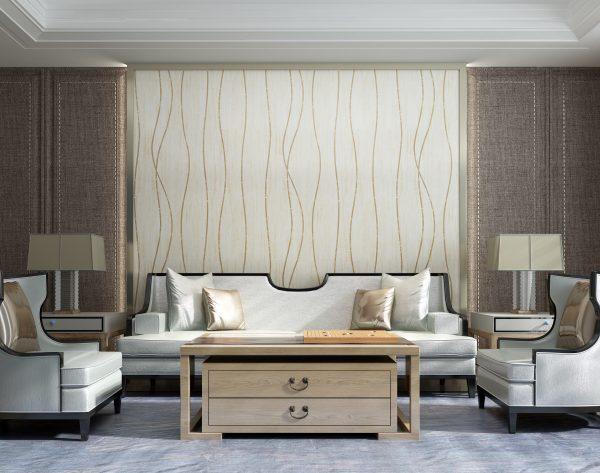 「卡农」明亮米黄韵律线条中式客厅沙发背景墙