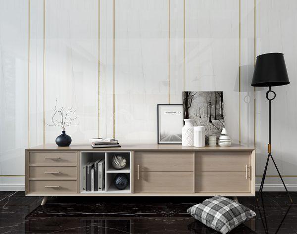 「米洛西白」白金极致优雅简约北欧客厅背景墙