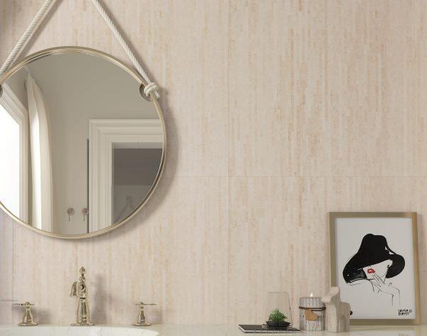 「条形米黄」素雅米黄极简温馨现代卫浴间
