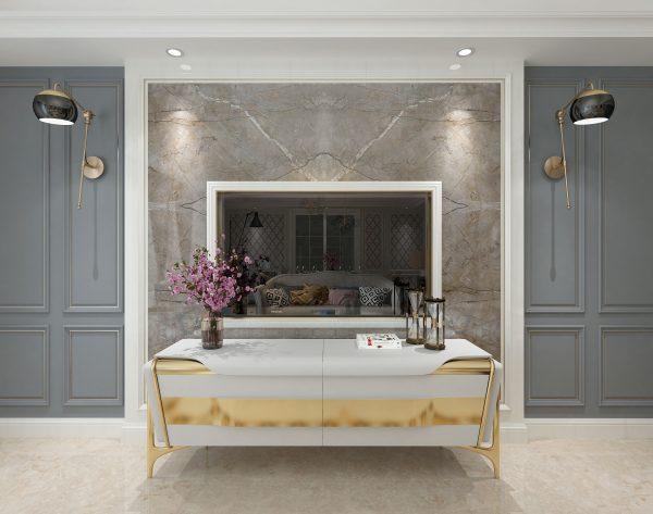 「米洛西中灰」异域风情美式客厅电视背景墙