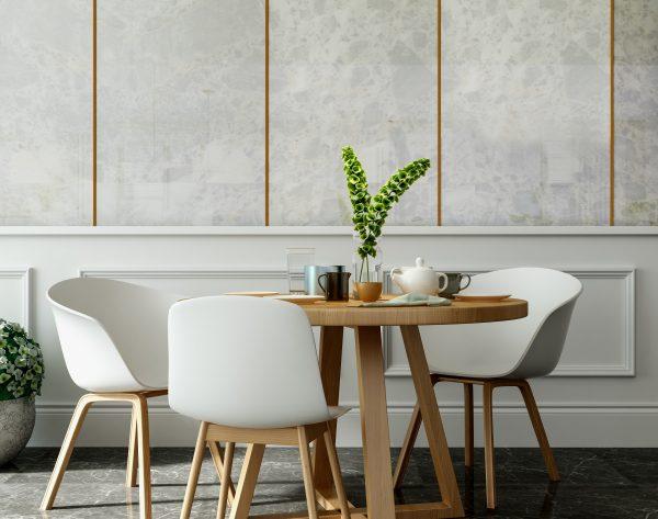 「米洛西豹纹白」自由写意浪漫野性美式餐厅背景墙