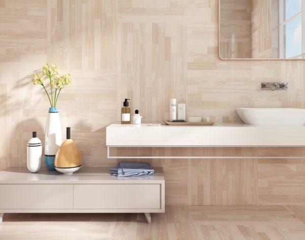 「精工几何条形003意大利木纹」轻盈舒适北欧卫浴间