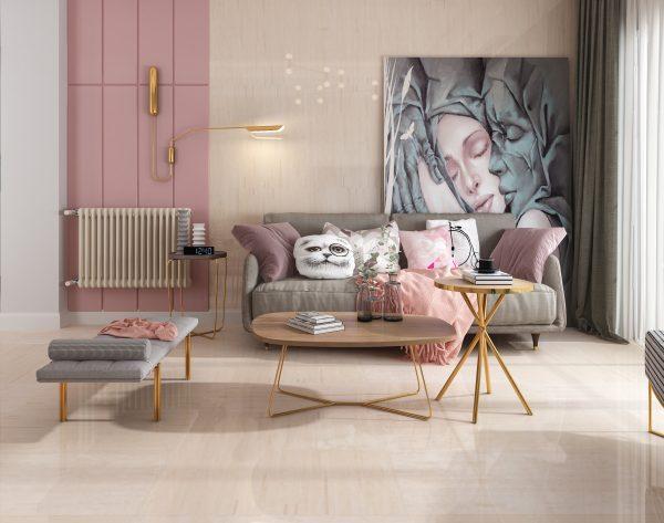 「精工几何条形004西米」粉色清新少女style北欧客厅