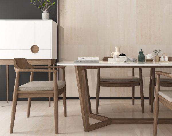 「精工几何条形005白玉兰」原木色自然舒适现代餐厅