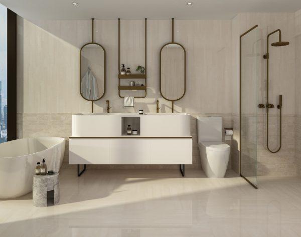 「精工几何条形005白玉兰」质感优雅舒适撩人现代卫浴间