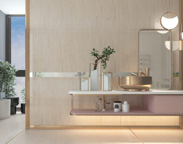 「精工几何条形004西米」轻奢高级感现代卫浴间