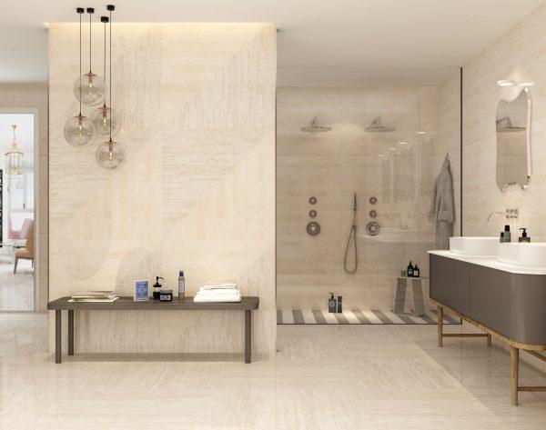 「精工几何条形004月白色」简单精致整洁精彩现代卫浴间
