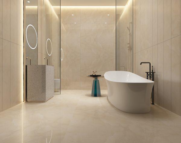 「索菲亚米黄」温馨淳朴自然舒适现代卫浴间