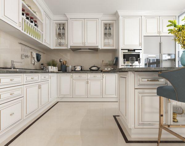 「索菲亚米黄」纯白简约一见倾心美式厨房