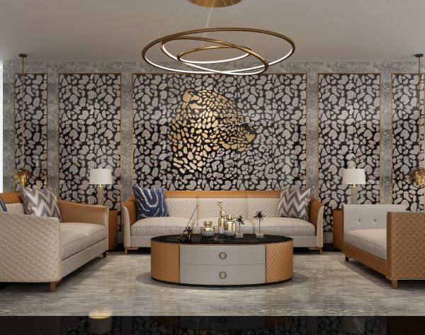 「米洛西美豹」时髦灵动精致奢华新奢主义沙发背景墙