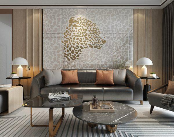 「米洛西美豹」轻奢高级优雅不凡新奢主义沙发背景墙