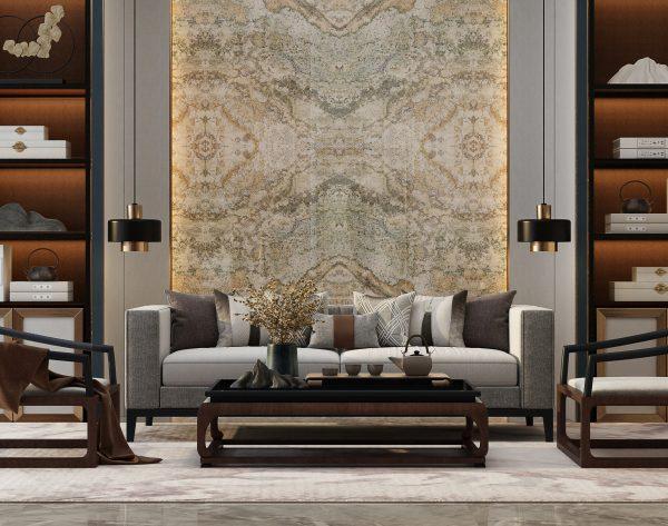 「香格里拉」复古经典新中式客厅沙发背景墙